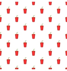 Plastic cup with straw pattern cartoon style vector