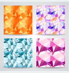 polygonal background seamless patterns set vector image