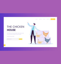 Poultry farm in wearing white robe with chickens vector