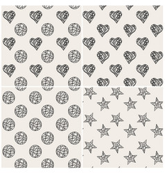 print set with hearts stars and circles vector image