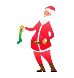 Santa with a sock candy vector image