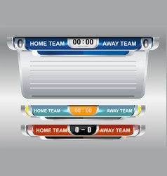 Scoreboard broadcast graphic and lower thirds temp vector