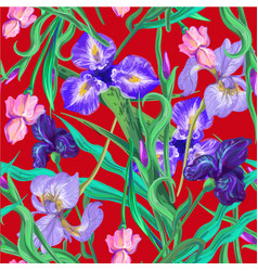 Seamless pattern with flowers iris lily vector
