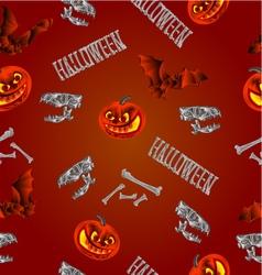 Seamless texture Halloween pumpkins bats skulls vector