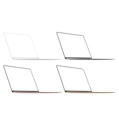 set four modern laptops isolated vector image