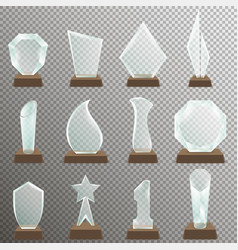 Set glass transparent trophy awards vector