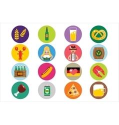 Set of flat Oktoberfest icons Bottle Beer vector image
