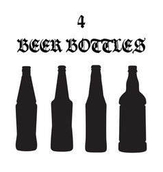 set of four beer bottle icons vector image