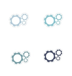 Set of paper stickers on white background gears vector