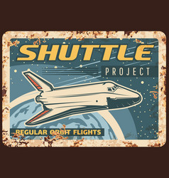 Shuttle project rusty metal plate spaceship vector