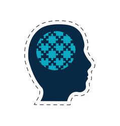 Silhouette head puzzle image vector