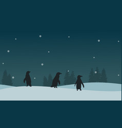 Silhouette of penguin on ice scenery vector