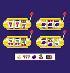 Slot machine jackpot winning combination symbols vector