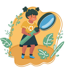 smiling girl looking through a magnifying glass vector image