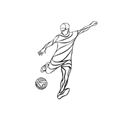 Soccer or football player kicks the ball vector image
