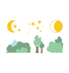 Summer trees moon and stars natural landscape vector