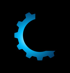technology logo cog gear icon in circle premium vector image
