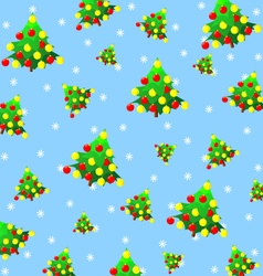 Texture of Christmas trees with toys and snowflake vector