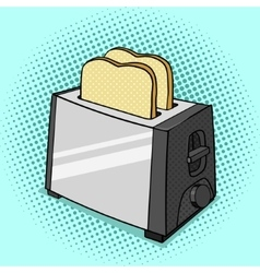 Toaster with toasts pop art style vector image