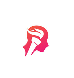 Torch mind human head fire flame think creative vector
