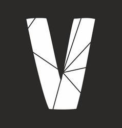 v white alphabet letter isolated on black vector image