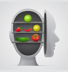 vegetables inside head vegetarian concept vector image