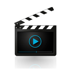 Video player on movie clapper vector