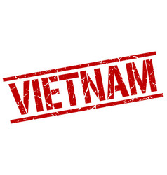 Vietnam red square stamp vector