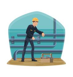 Water pipeline plumbing service plumber worker vector