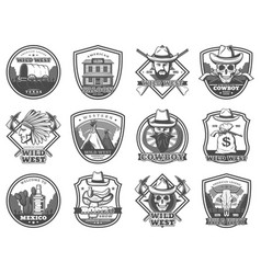 wild west icons american western and cowboy vector image