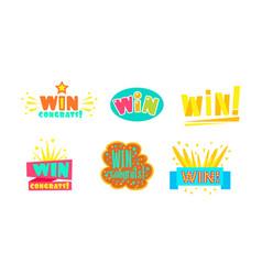 win congrats labels bright congratulations vector image