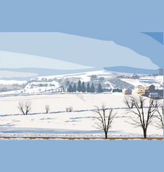winter rural landscape small village and vector image