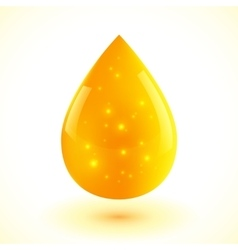 Yellow liquid drop isolated on white vector image