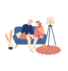 Young loving couple spend time at home sitting vector