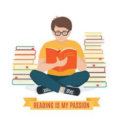 Young man reading a book vector