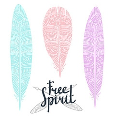 Zentangle tribal feathers set vector