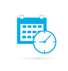 calendar and clock icon on white background vector image