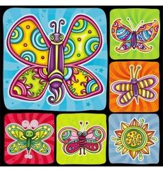 Cartoon butterflies set vector image vector image