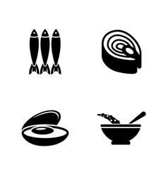 fish dish simple related icons vector image
