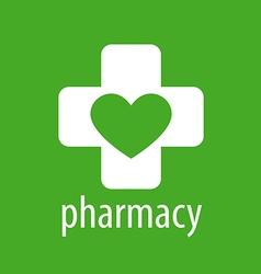 logo heart and cross for pharmacy vector image