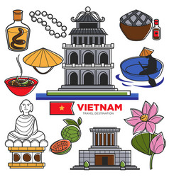vietnam travel tourism famous symbols and asian vector image vector image