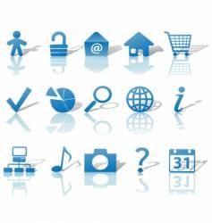 web blue icons set vector image