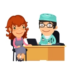 Woman Having Medical Consultation in Doctors vector image