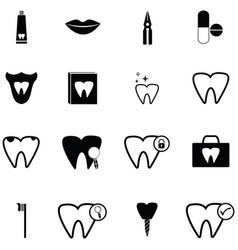 dentist icon set vector image