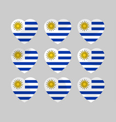 heart icons with the flag of uruguay vector image