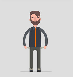 no money man with pockets turned outward vector image