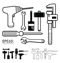 tools icon set white background vector image