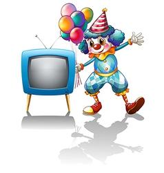 A clown with balloons near the TV vector image vector image