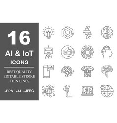 ai icon set data science technology machine vector image vector image