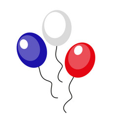 balloons blue red white icon flat style 4th vector image vector image